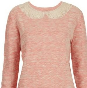 TOPSHOP   Pink Knitted Lace collar sweater…